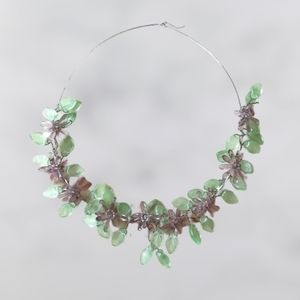 Floral garland necklace purple flowers green